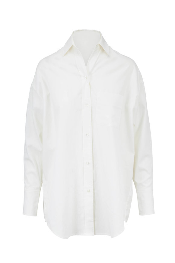 Vince Classic Optic White Cotton Oversized Shirt