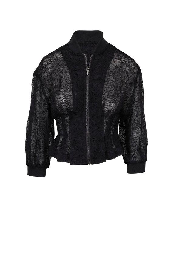 Cushnie Black Lace Organza Bomber Jacket