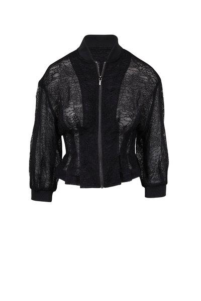 Cushnie - Black Lace Organza Bomber Jacket