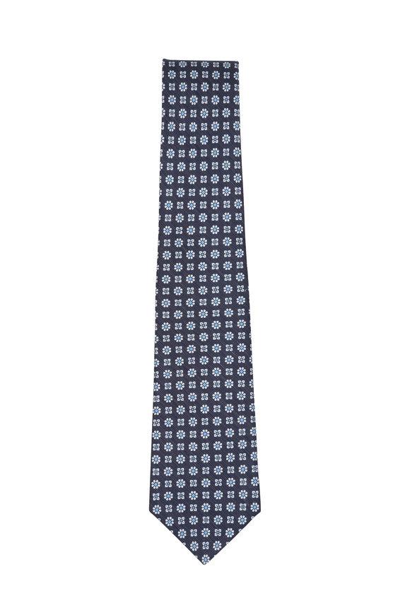 Kiton Navy Blue & White Floral Silk & Linen Necktie