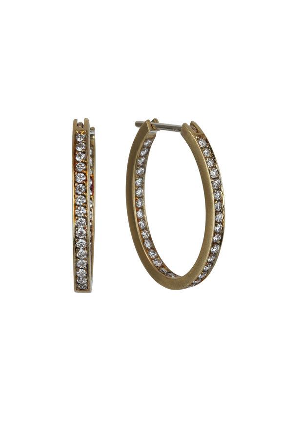 Sylva & Cie 18K Yellow Gold Diamond Oval Hoop Earrings