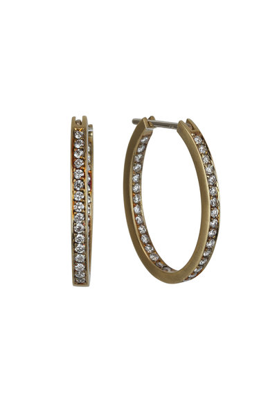 Sylva & Cie - 18K Yellow Gold Diamond Oval Hoop Earrings