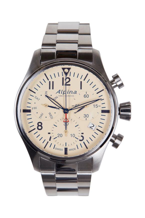 Alpina Startimer Pilot Chronograph Quartz Cream, 42MM