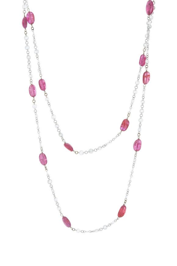 Cairo Platinum Ruby & Diamond Beaded Chain Necklace