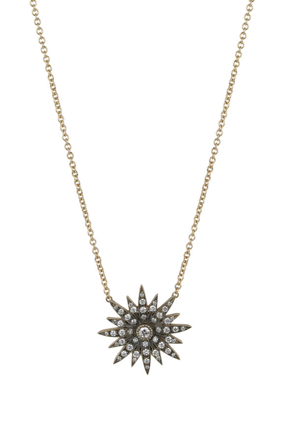 Sylva & Cie 18K Yellow Gold Starburst Pendant Necklace