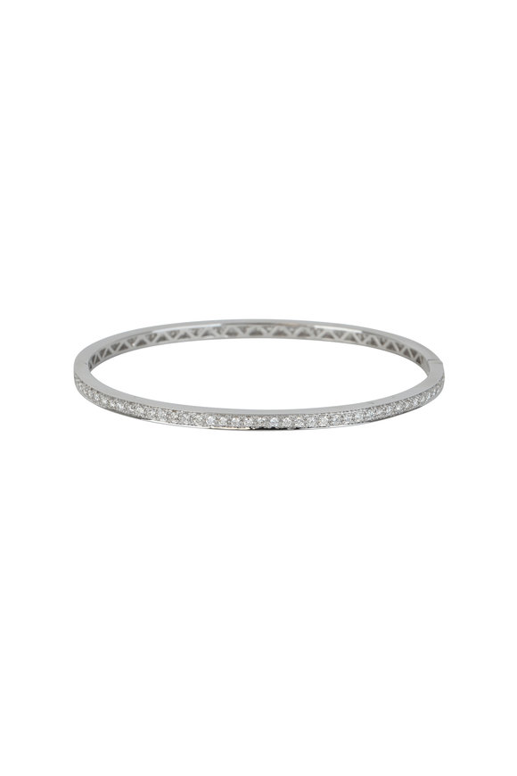 Kai Linz 18K White Gold All Around Diamond Bangle
