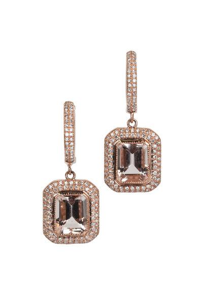 Kai Linz - Rose Gold Morganite Pavé Drop Earrings