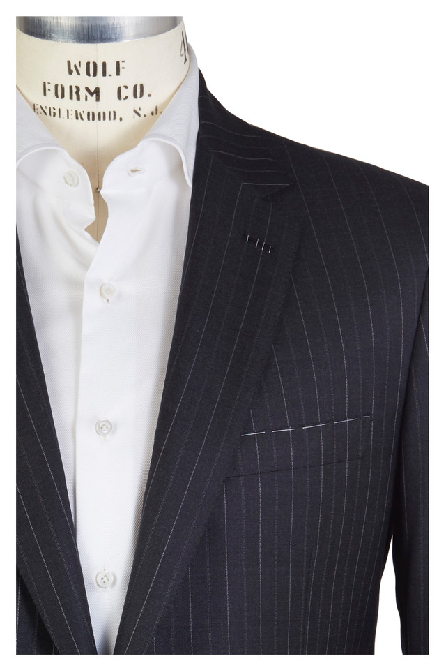 Charcoal Grey Worsted Wool Striped Suit