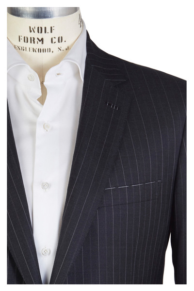 Brioni - Charcoal Grey Worsted Wool Striped Suit