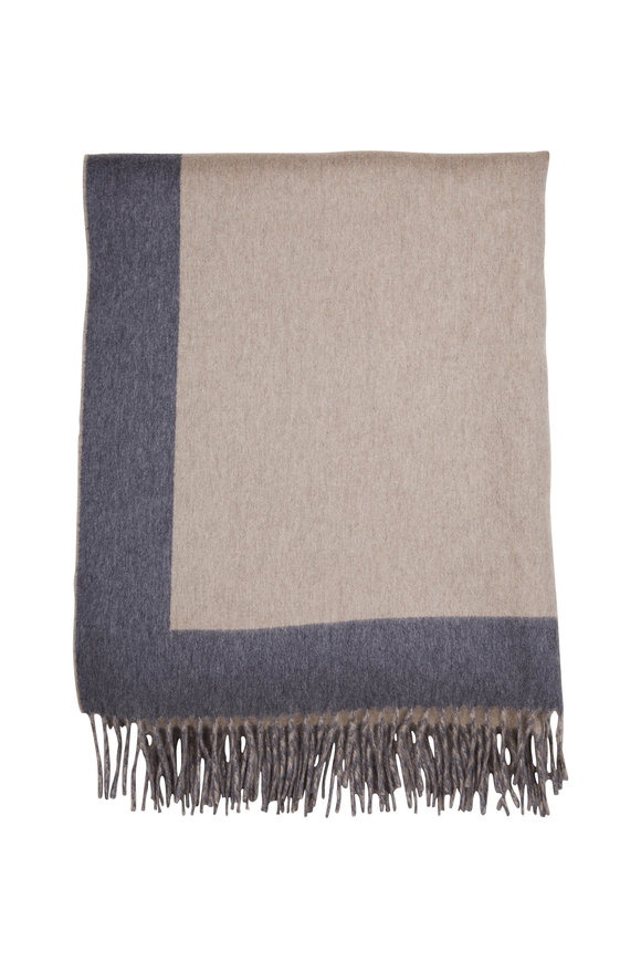Brunello Cucinelli Grey & Tan Cashmere Bi-Color Fringe Trim Blanket