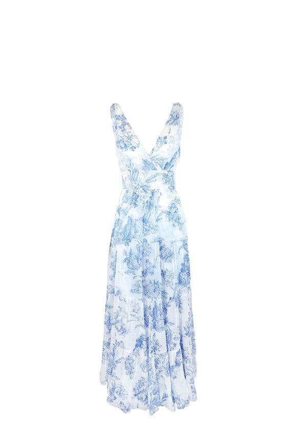 Oscar de la Renta White & Blue Toile Print Silk Chiffon Dress