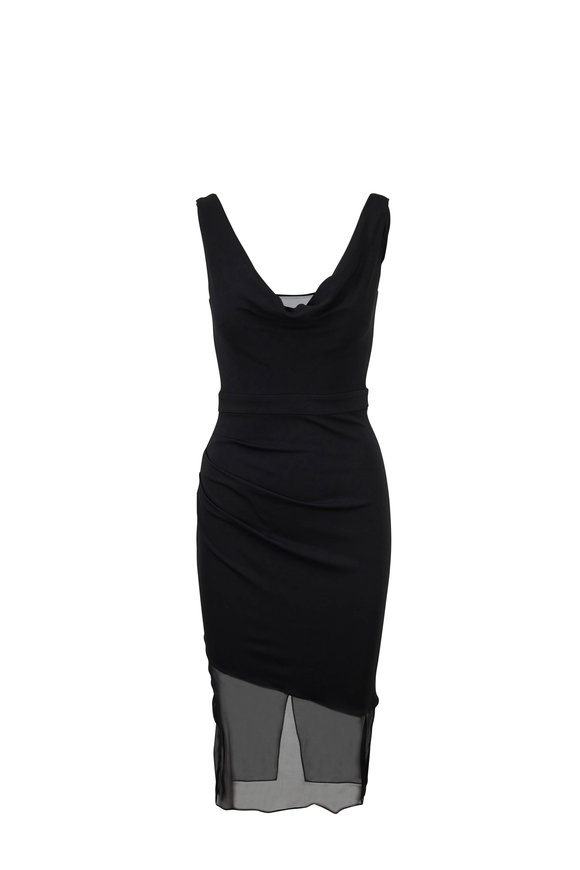 Cushnie et Ochs Black Organza Hem Sleeveless Dress