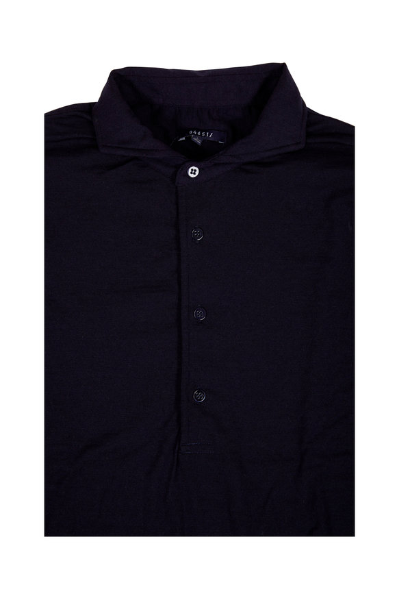 04651/ Navy Blue Stretch Wool Long Sleeve Polo