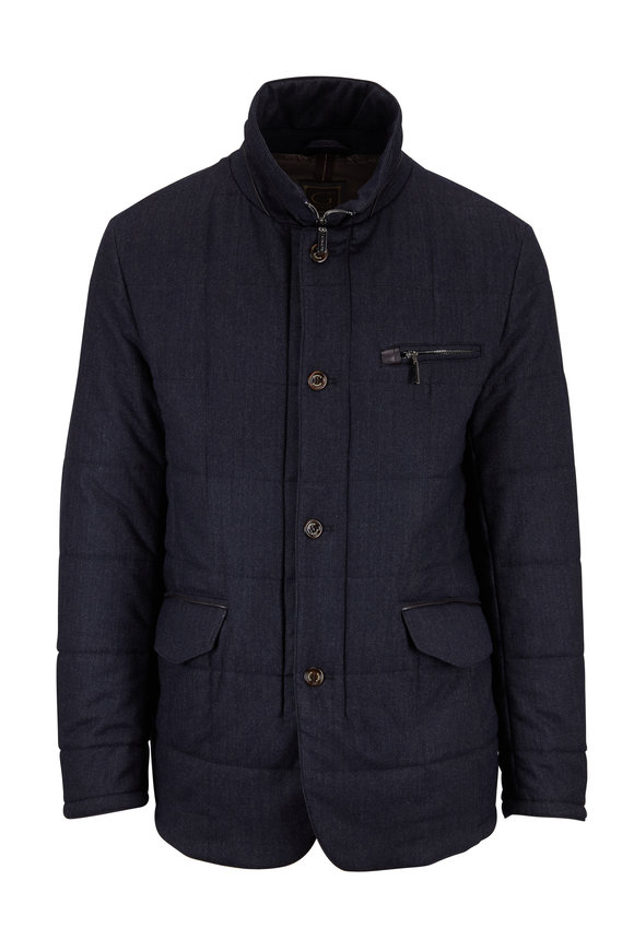 Gimos Blue & Gray Micro Herringbone Quilted Jacket