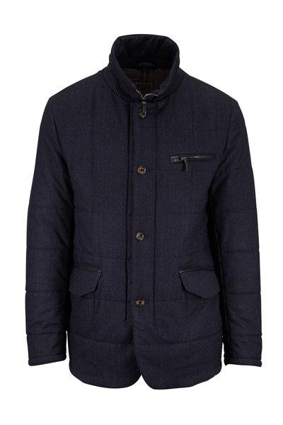 Gimos - Blue & Gray Micro Herringbone Quilted Jacket