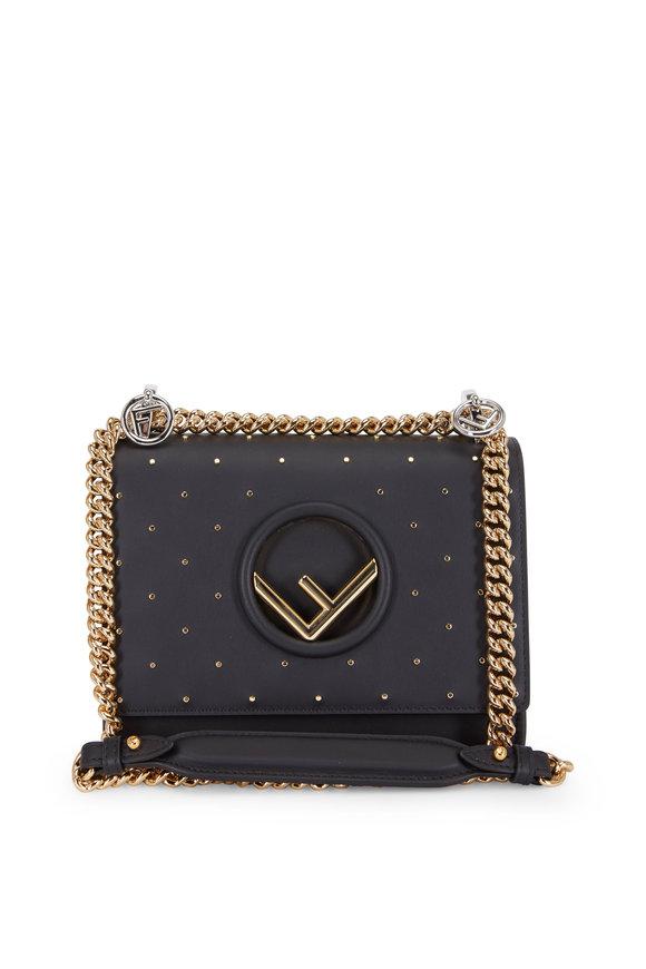 Fendi Kan I Black Leather Mini Studded Small Bag