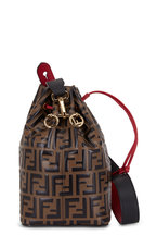 Fendi - Mon Tresor Brown Logo Embossed Grande Bucket Bag