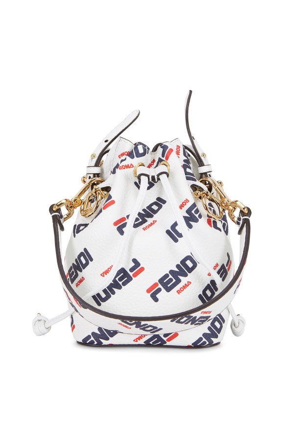 Fendi Mon Tresor White Logo Mania Mini Bucket Bag