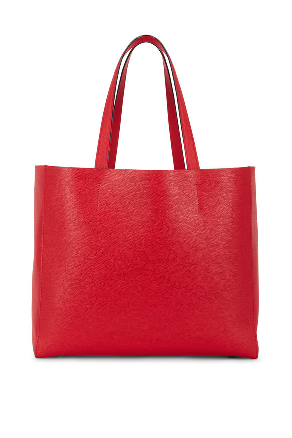 Valextra Rosso Large Soft Carryall V-Tote