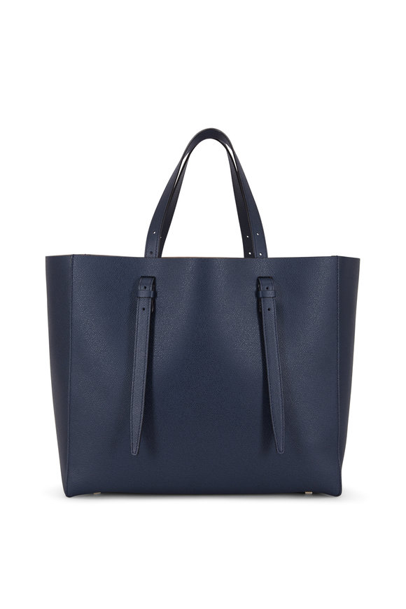 Valextra Navy Blue Soft Leather Large Carryall Tote