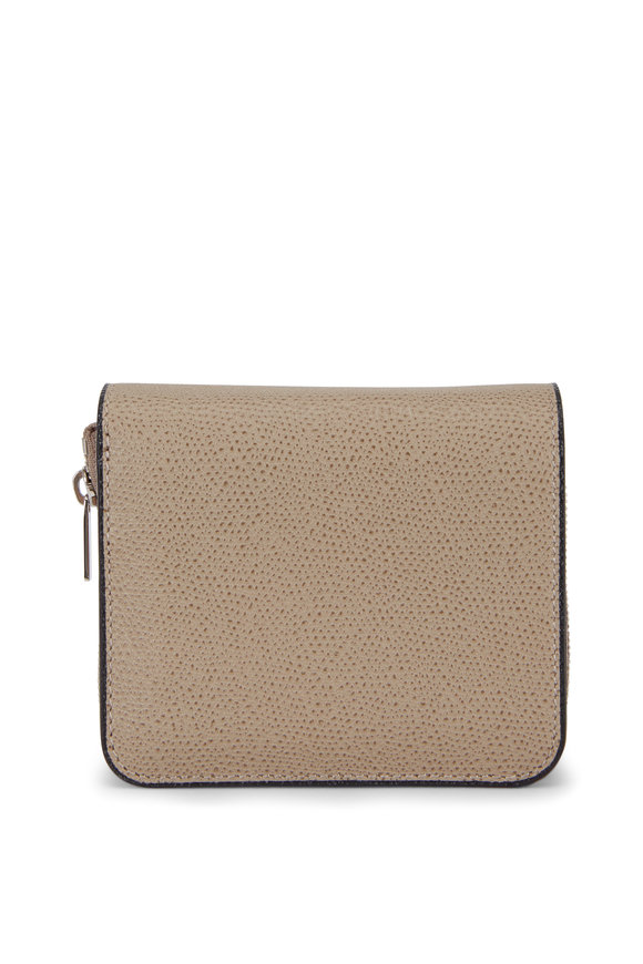 Valextra Oyster Grained Leather Double Wallet