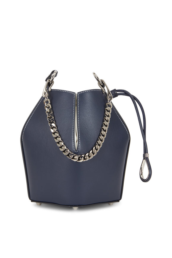 Alexander McQueen Navy Blue & White Leather Small The Bucket Bag