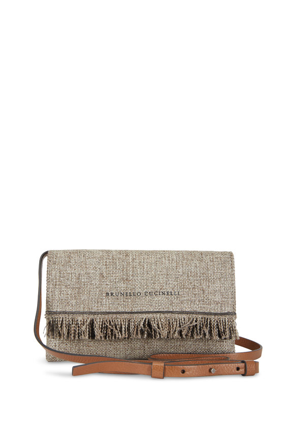 Brunello Cucinelli Platinum Metallic Woven Fringed Small Crossbody