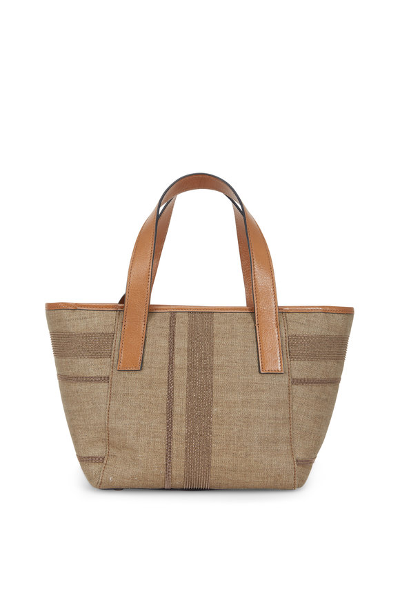Brunello Cucinelli Desert Coated Canvas Monili Stripe Small Tote