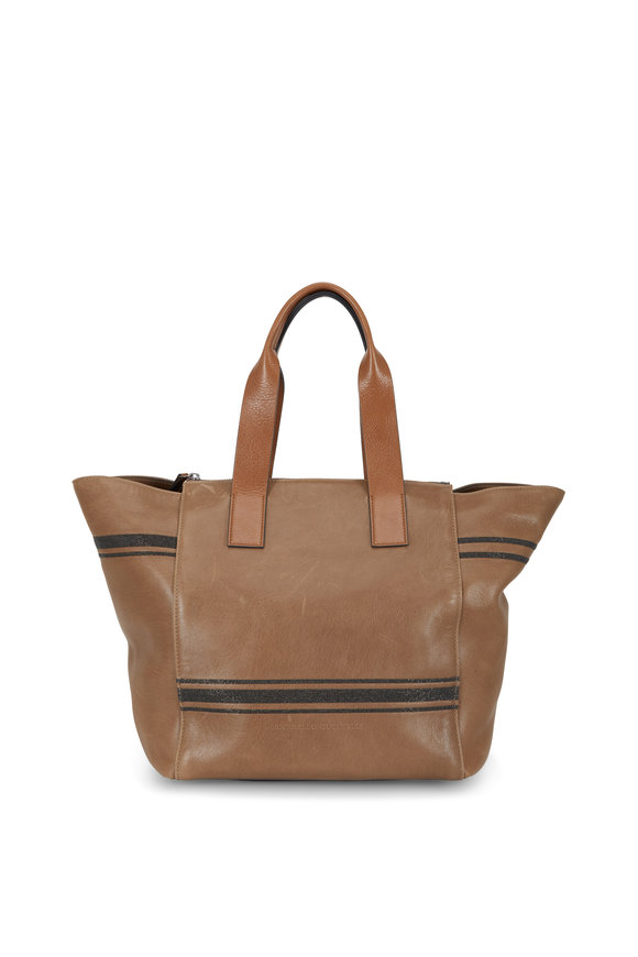 Brunello Cucinelli Chestnut Leather Monili Stripe Medium Tote