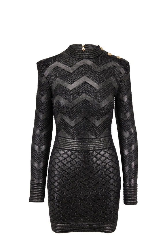 Balmain Black Metallic Chevron Knit Long Sleeve Dress