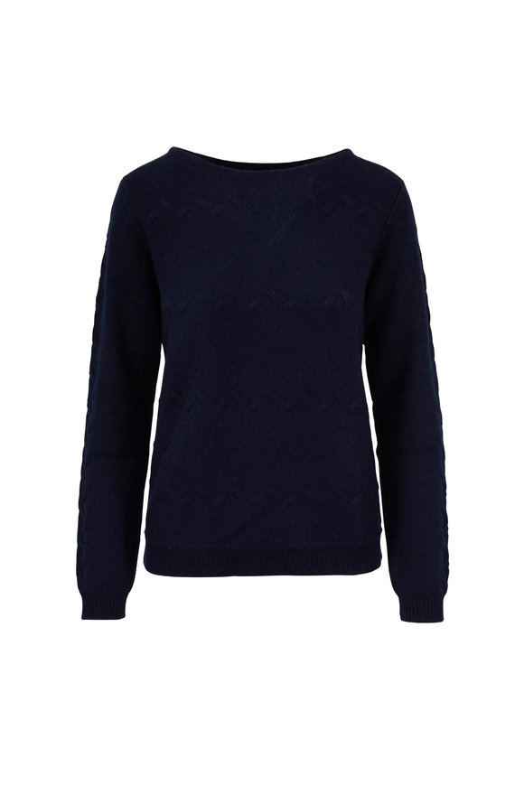 Raffi  Navy Cashmere Cable Knit Sweater