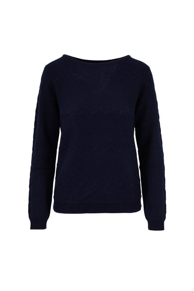 Raffi - Navy Cashmere Cable Knit Sweater