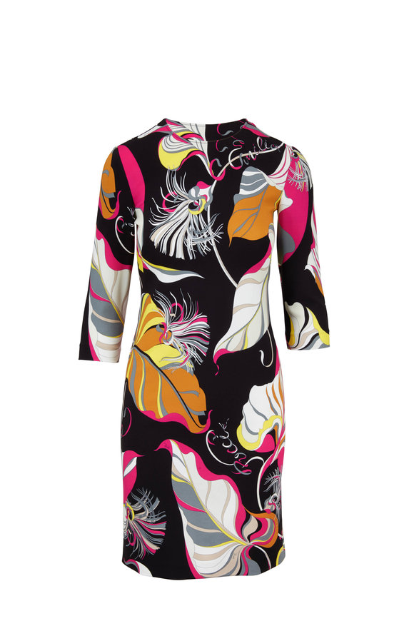 Pucci Black & Pink Leaf Print Sheath Dress