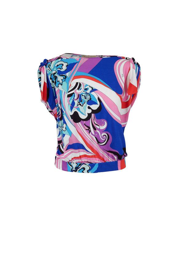 Pucci Coral & Sapphire Printed Tie Shoulder Top