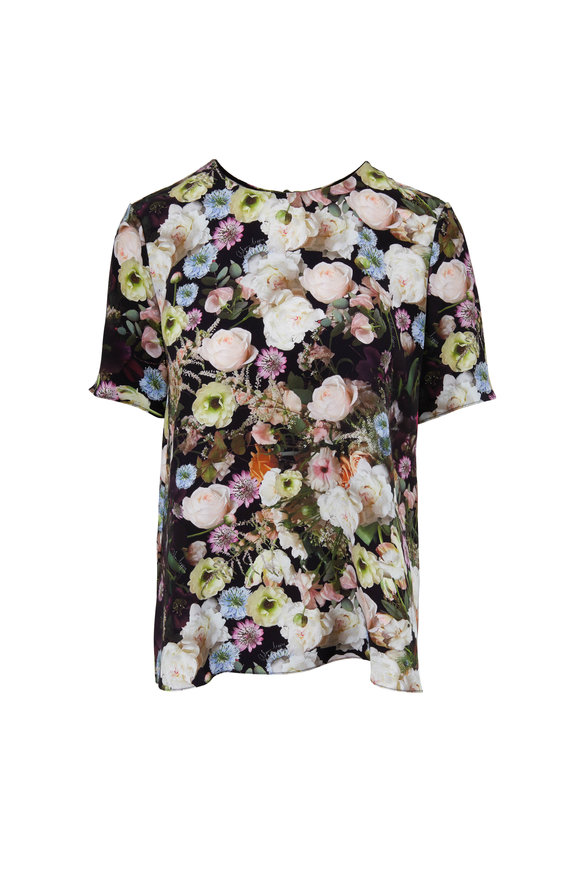 Adam Lippes Black Silk Floral Printed T-Shirt