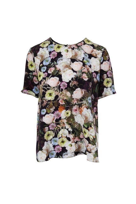Adam Lippes Black Silk Floral Printed T-Shirt