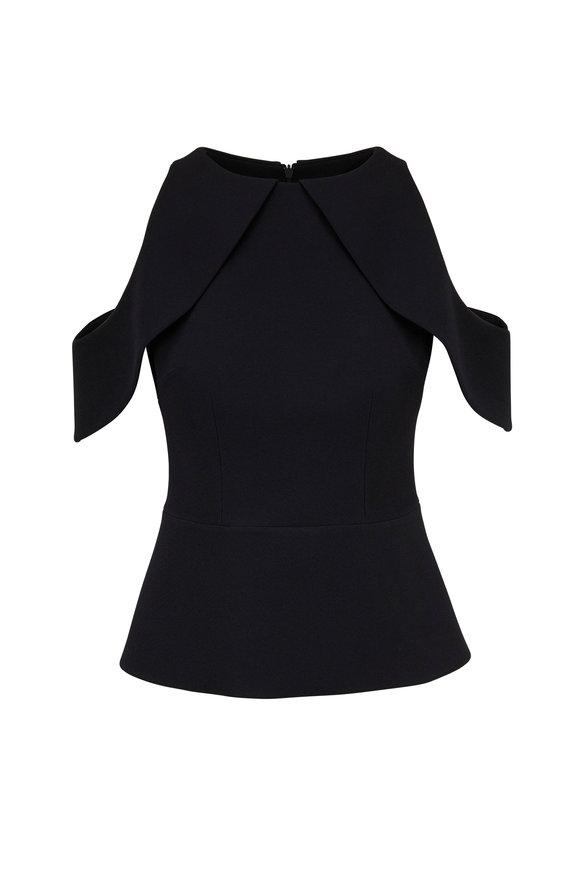 Safiyaa Opal Black Cold-Shoulder Top