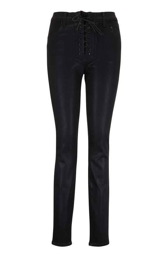 J Brand Maria Black Coated High-Rise Lace-Up Jean
