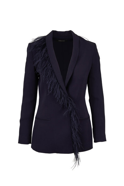 Cushnie - Ink Feather Trim Fitted Jacket
