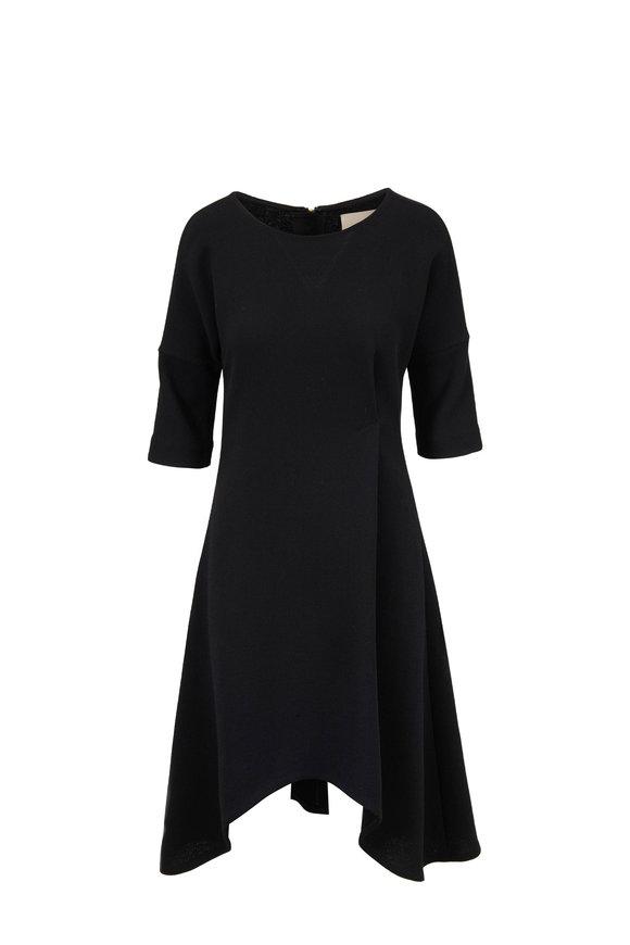 Olivine Gabbro Black Elbow Sleeve A-Line Dress