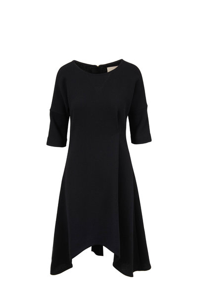 Olivine Gabbro - Black Elbow Sleeve A-Line Dress