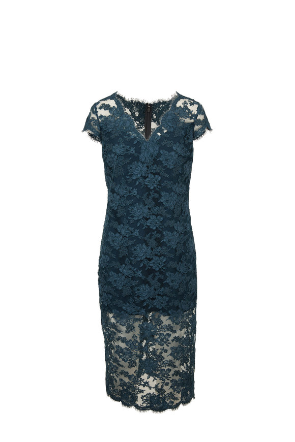 Olivine Gabbro Teal Lace Cap Sleeve Evening Dress