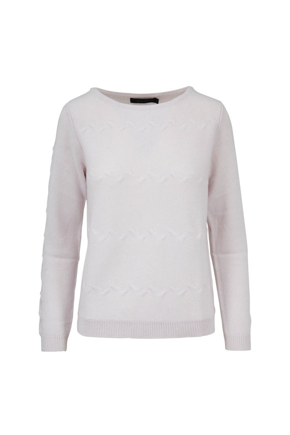 Raffi  Chalk White Cashmere Cable Knit Sweater