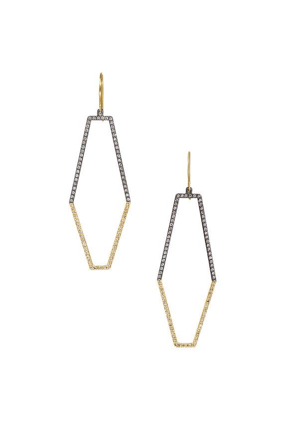 Todd Reed 18K Gold & Silver Diamond Octagon Hoop Earrings