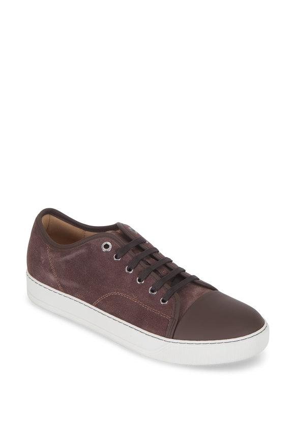 Lanvin Clay Suede Cap-Toe Sneaker