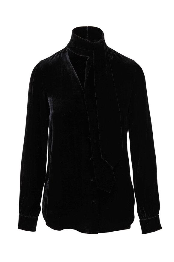 L'Agence Gisele Black Velvet Tie-Neck Blouse