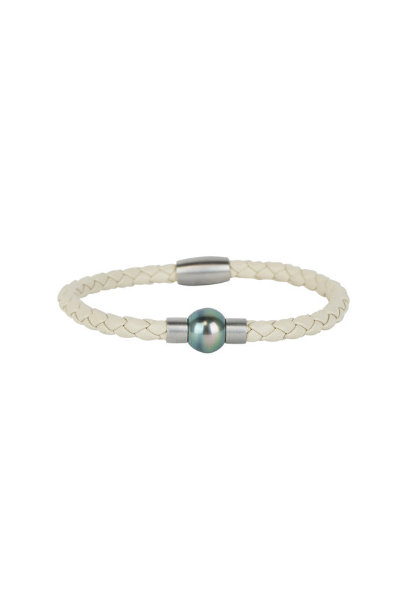 Loren Jewels Pearl White Leather & Pearl Bracelet