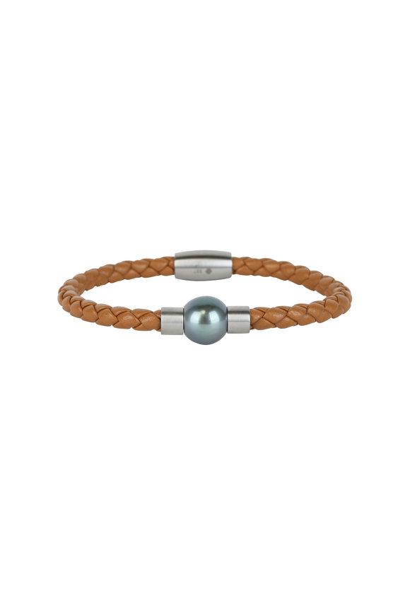 Loren Jewels Camel Leather & Pearl Bracelet
