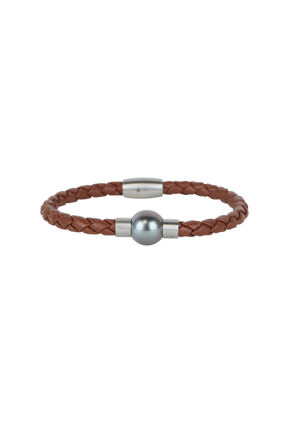 Loren Jewels Congac Leather & Pearl Bracelet