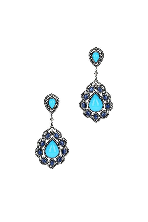 Loren Jewels 18K Gold & Silver Turquoise & Kyanite Earrings